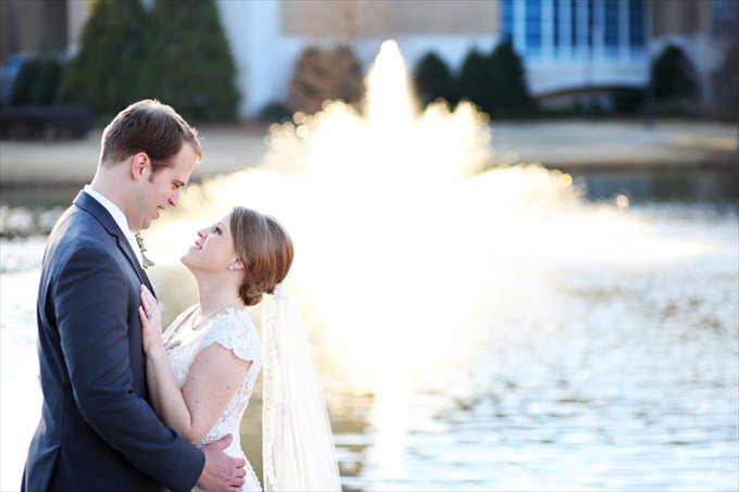 bride groom in front of fountain | Sarah + JJ's Pretty Wedding at 173 Carlyle House | http://www.emmalinebride.com/real-weddings/pretty-wedding-173-carlyle-house/ | photo: Melissa Prosser Photography - Atlanta Georgia Wedding Photographer