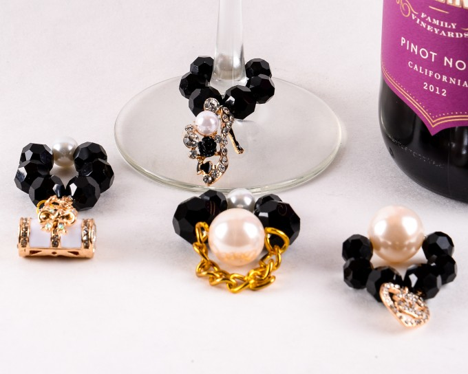 coco chanel themed wine charms
