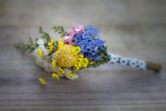 daisy and billy button dried flower boutonnieres by PickaBloomFlowers