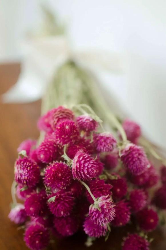 dark pink gomphrena bouquet