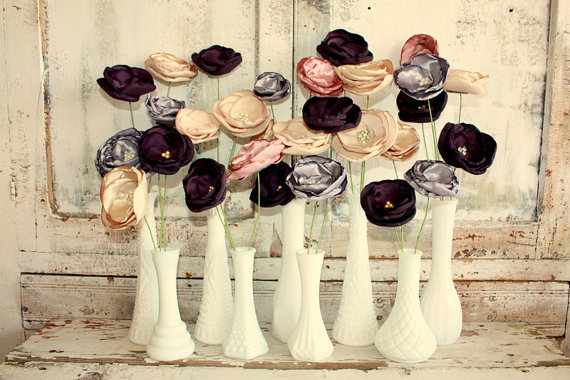 fabric flower stems in vases
