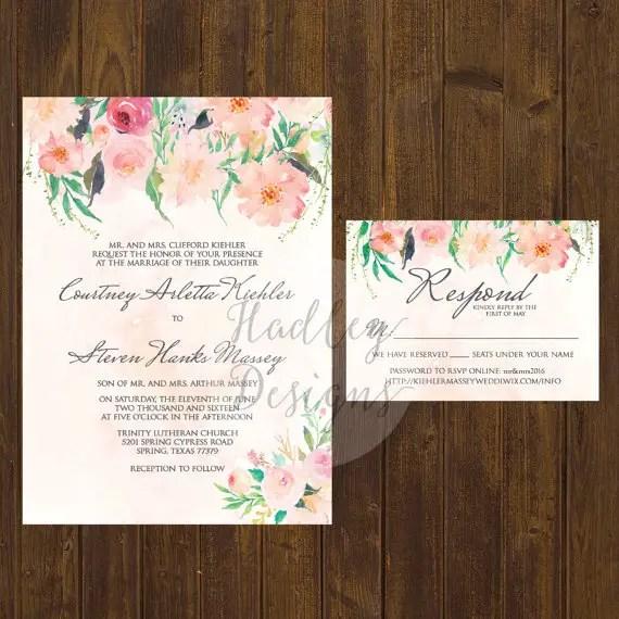 floral watercolor wedding invitation design
