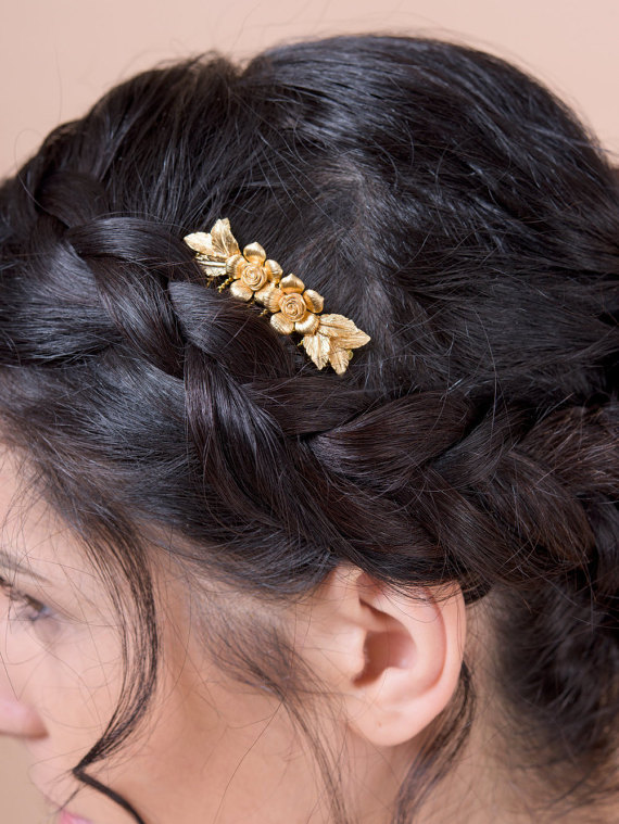 flowers and leaves hair comb - up close