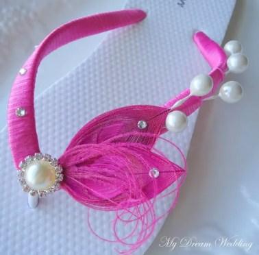 hot pink pearls flip flops