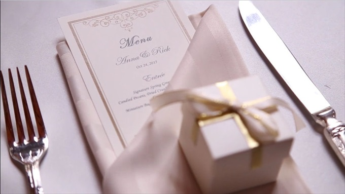 kohl mansion wedding table setting menu | A Luxurious Wedding at the Kohl Mansion (California Weddings) | http://www.emmalinebride.com/real-weddings/a-luxurious-wedding-at-the-kohl-mansion-real-wedding-video/ | Film (Wedding Video): Baby Blue Film