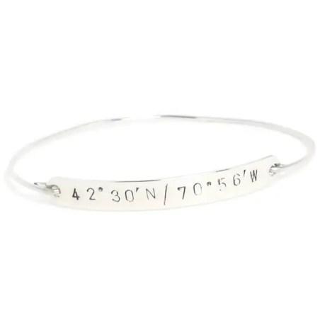 latitude longitude silver bracelet