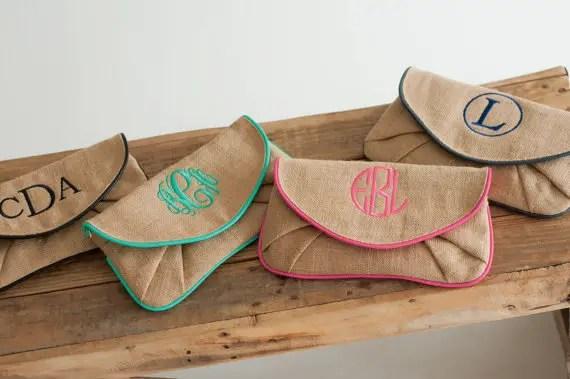 monogrammed burlap clutches