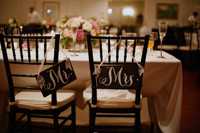 mr mrs wedding chair signs | Sarah + JJ's Pretty Wedding at 173 Carlyle House | http://www.emmalinebride.com/real-weddings/pretty-wedding-173-carlyle-house/ | photo: Melissa Prosser Photography - Atlanta Georgia Wedding Photographer