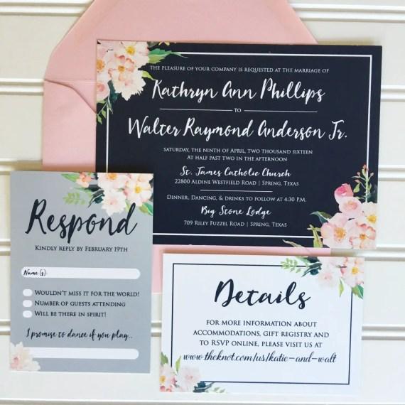 navy blush wedding invitations