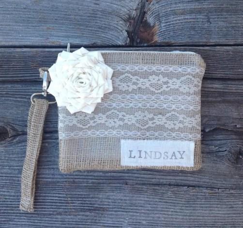 personalized burlap clutch purse