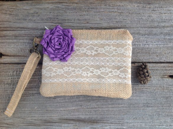 purple wristlet clutch made with burlap