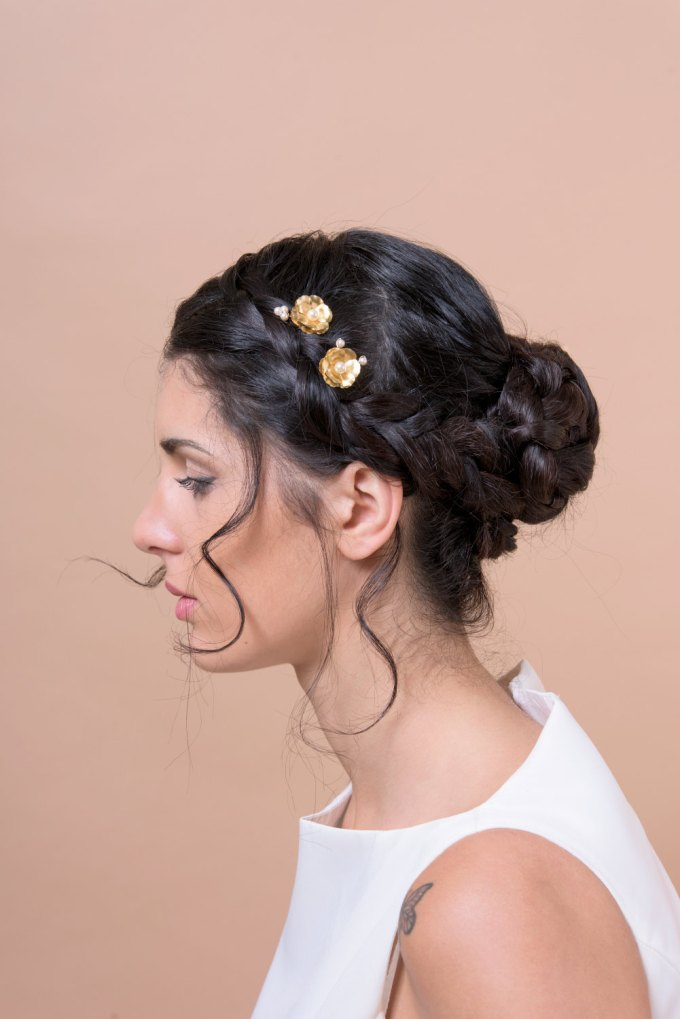 small gold hair bobby pins for wedding by Bridal Ambiance | bridal veil alternative via http://emmalinebride.com/bride/bridal-veil-alternatives/ ‎  | any hairstyle