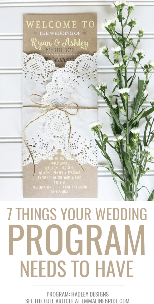 things every wedding program needs to have