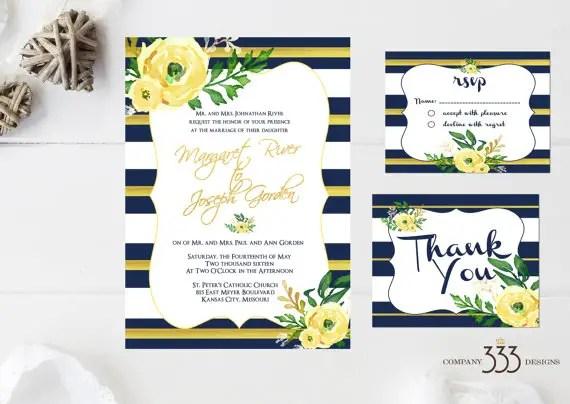 wedding invites - navy and yellow