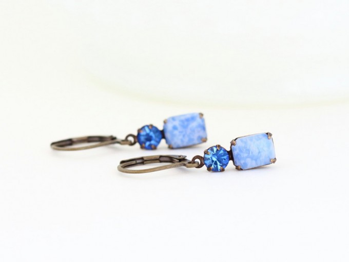 blue drop jewel earrings