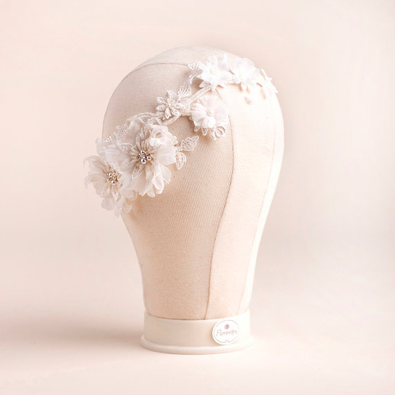 bridal headpiece on lace floral - 2
