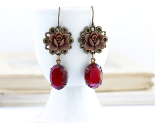 chocolate brown and red dangling flower earrings