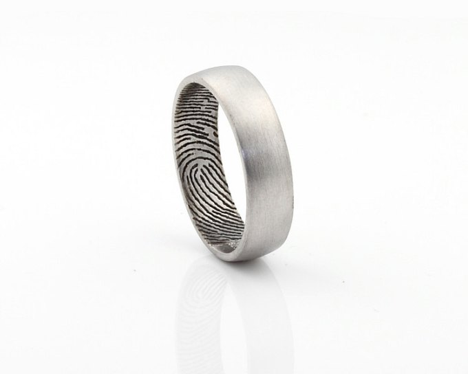 fingerprint wedding band for men | unique wedding bands for men