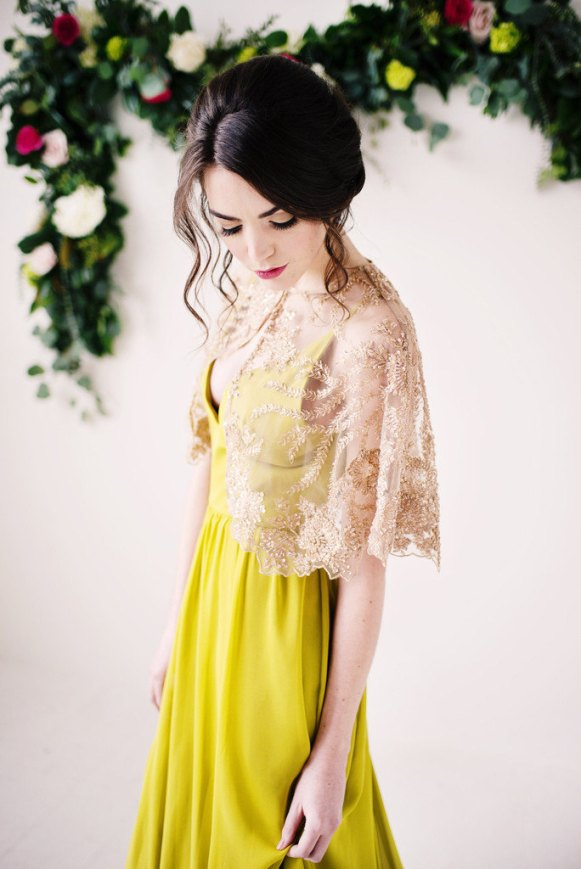 gold bead lace capelet