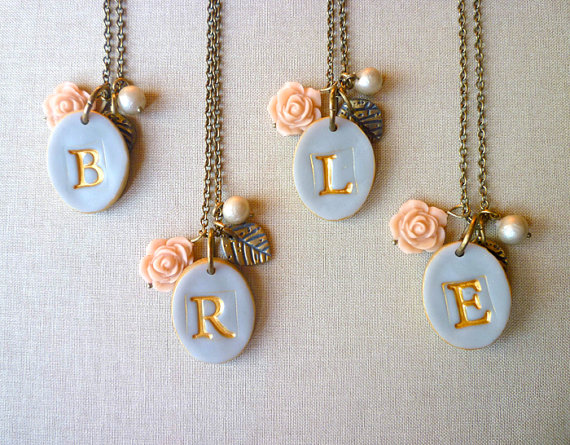 gray rose and pearl initial necklaces for bridesmaids | by Palomaria | bridesmaid necklaces initials | http://emmalinebride.com/gifts/bridesmaid-necklaces-initials