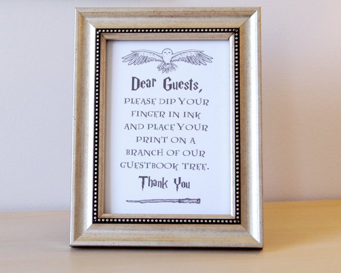 Harry Potter Guest Book | By Arcadia Artistry | http://emmalinebride.com/themes/harry-potter-guest-book