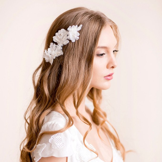 lace headpiece with silk flowers hair down hairstyle | hairstyles accessories weddings | http://emmalinebride.com/bride/hairstyles-accessories-weddings/ | via florentes: http://etsy.me/22yo1LX