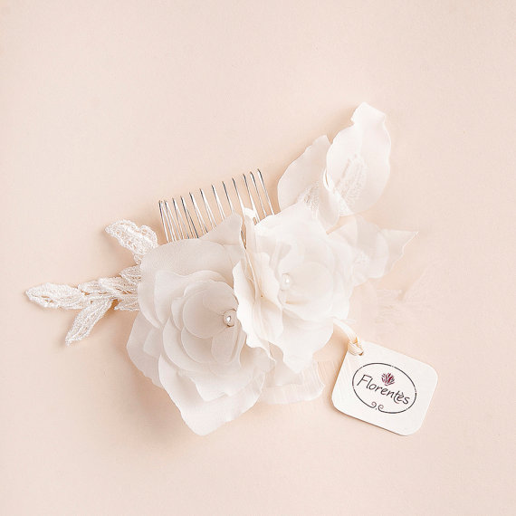 lily magnolia flower hair comb - 2