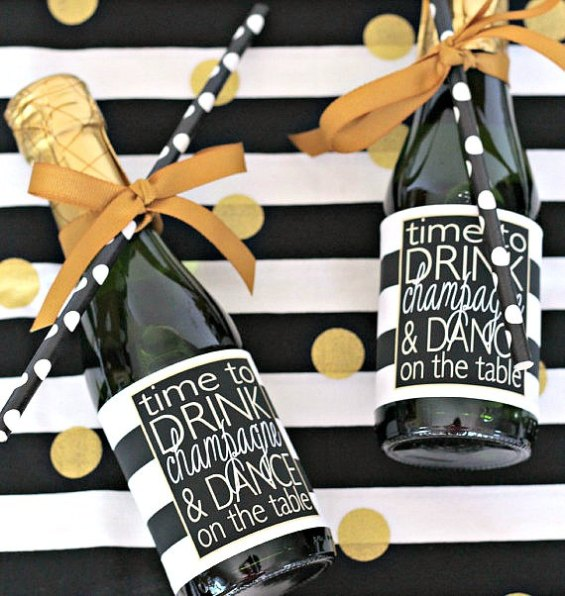 mini champagne bottle favors by preppingparties