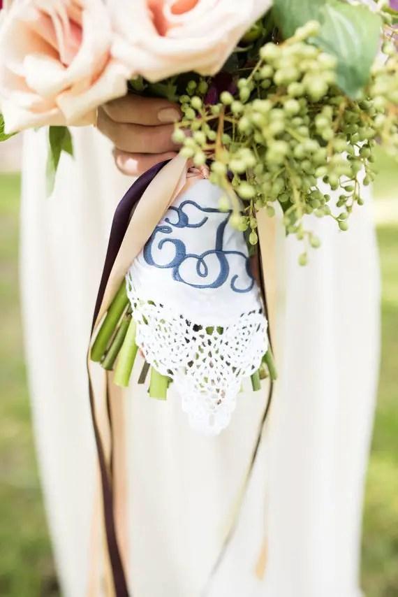 navy embroidered handkerchief bridal bouquet wraps   wedding bouquet wraps: http://emmalinebride.com/bouquets/wedding-bouquet-wraps/