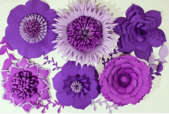 purple paper flower backdrop