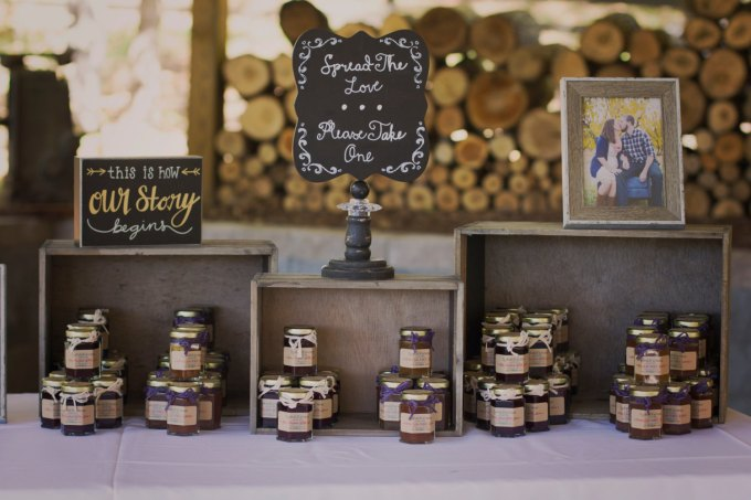 rustic jam jelly jar favors