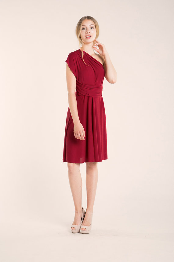 short one shoulder red dress