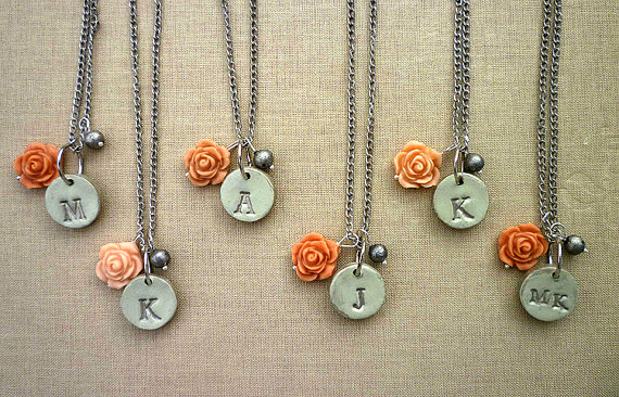 silver frost initial necklaces for bridesmaids | by Palomaria | bridesmaid necklaces initials | http://emmalinebride.com/gifts/bridesmaid-necklaces-initials
