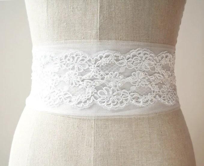 Tulle alencon lace sash | by Laura Stark | sashes dress | http://emmalinebride.com/bride/bridal-sashes-dress