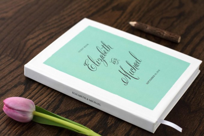 white and mint wedding guest book