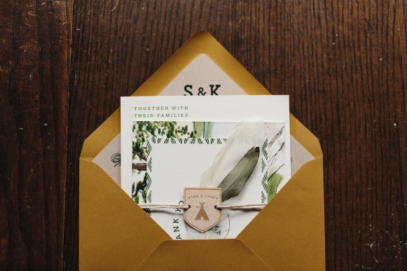 woodland camping invitation