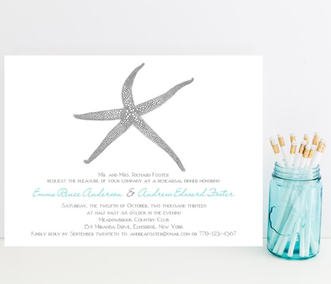 beach wedding rehearsal dinner invitations