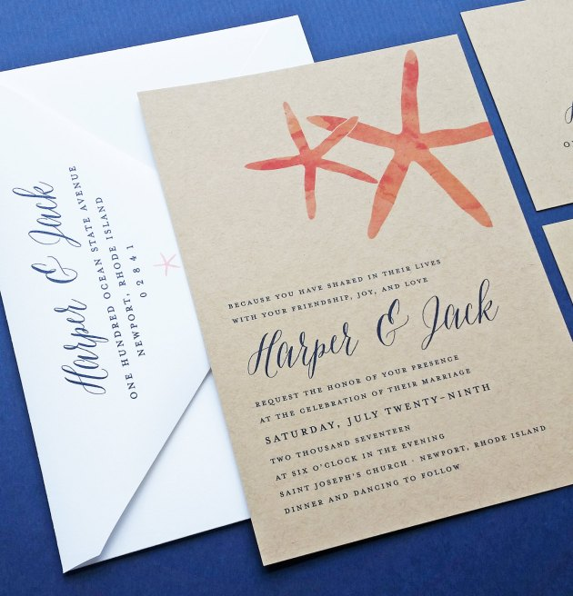 coral starfish wedding invitations on kraft paper
