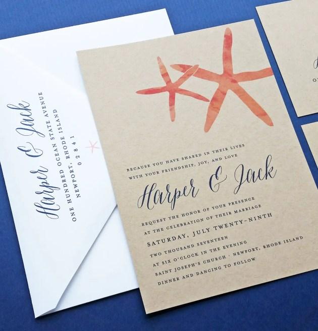 coral starfish wedding invitations on kraft paper