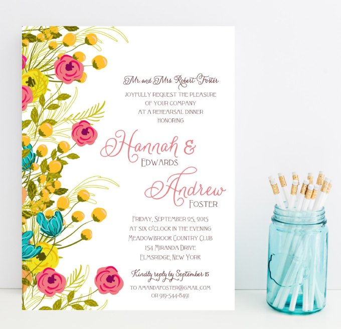 floral rehearsal dinner invitations