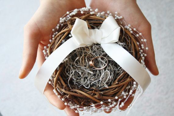 ring bearer pillow nest by WildRoseAndSparrow | 41 Beautiful Rustic Ring Pillows Etsy | http://emmalinebride.com/rustic/ring-pillows-etsy-weddings/