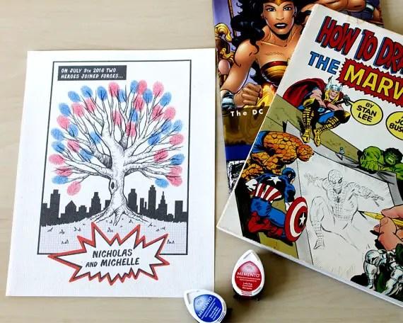 superhero thumbprint tree guest book