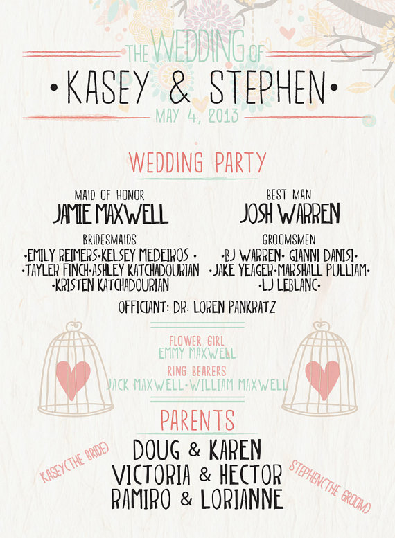 fun printable wedding program