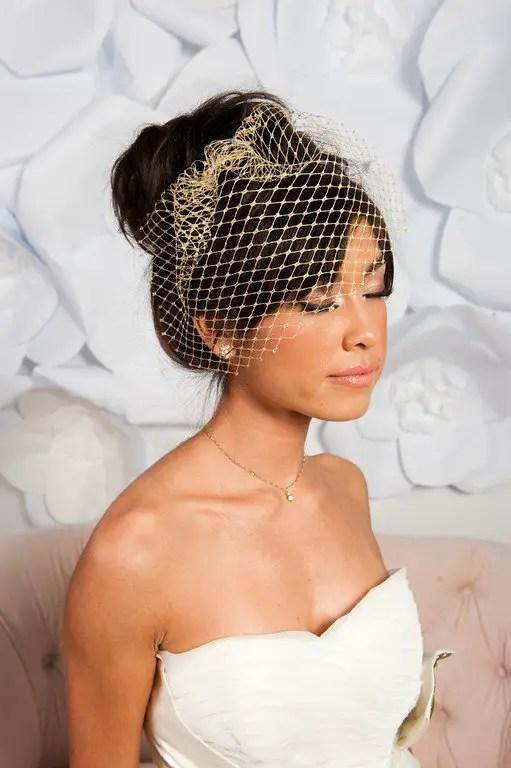 gold metallic birdcage veil image two