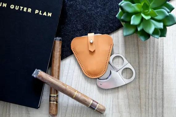 leather cigar cutter case
