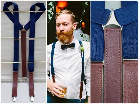 leather navy suspenders by bymaryjanelane | via 40+ Best Leather Groomsmen Gifts for Weddings | http://emmalinebride.com/gifts/leather-groomsmen-gifts/