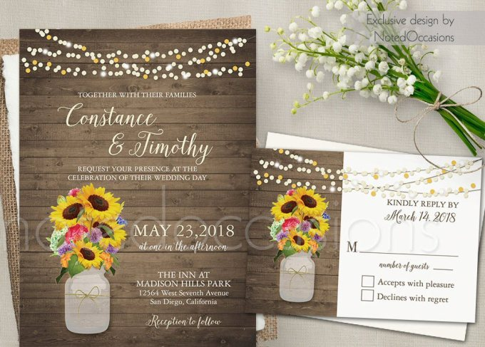 sunflower design | free printable wedding invitations http://emmalinebride.com/2016-giveaway/free-printable-wedding-invitations/