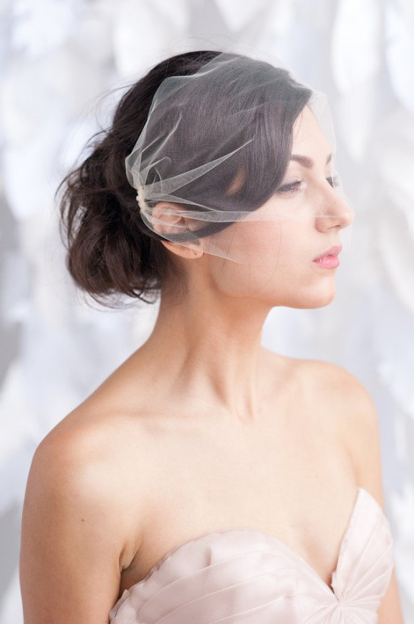 tulle bandeau birdcage veil view two