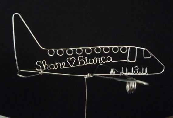 airplane wedding wire cake toppers