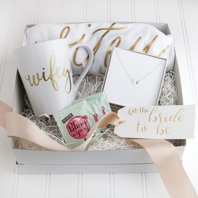 wifey gift set | via 15 Best Gifts for the Bride from Groom + Wedding Gifts for Bride from Groom | http://emmalinebride.com/gifts/gifts-for-the-bride-from-groom/